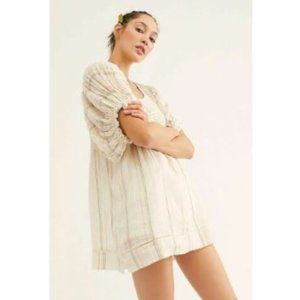 Free People Elsie Yarn Dye Puff Sleeve Tunic Top